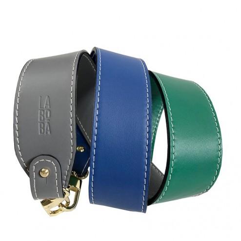 STRAP FOR BAG TRICOLOR GREY GREEN BLUE